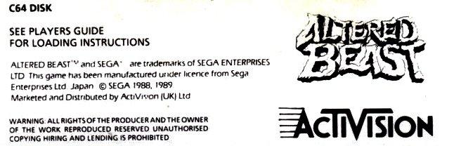 c64 disk label - altered beast