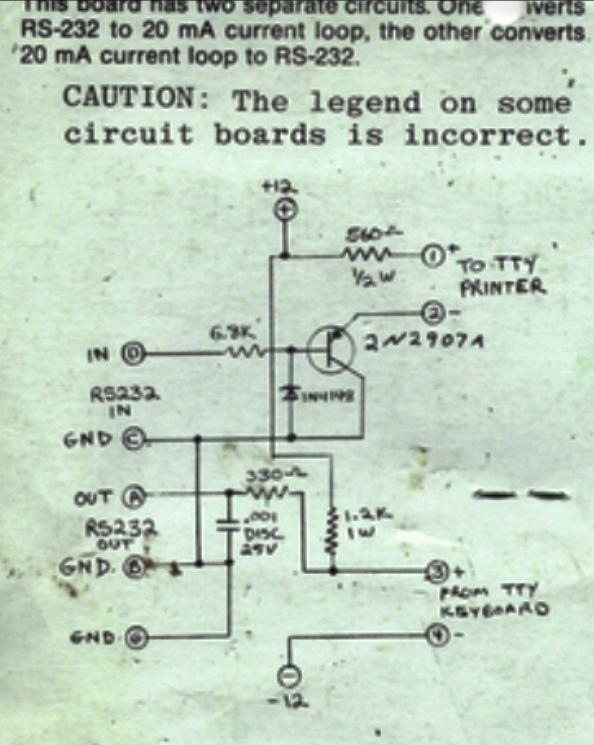 Currentloop Teletype RS232